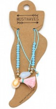 E-C9.1  ANK221-018 Anklet with Beads-Shell-Tassel Blue