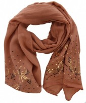 X-M2.2  Scarf with Butterfly and Sequins 70x200cm Pink