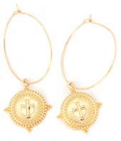 E-B8.1 E304-003 Hoop Earrings with Cross Gold