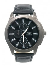 A-B22.2 W523-011A Quartz Watch with PU Strap 45mm Black
