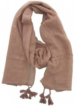 X-D5.1 S004-014 Scarf with Golden Dragonfly and Tassels 180x70cm Brown