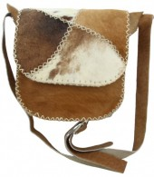S-A4.4 Leather Cowhide Cross Body Bag Patchwork Mixed Colors 20x21x7cm