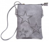 Q-L2.1 BAG012-002 PU Bag with Studded Stars 20x15cm Grey