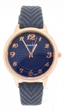 WA023-001 Quartz Watch with PU Strap Rose Gold-Blue
