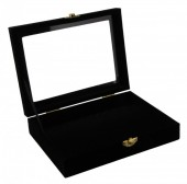 Z-F1.1  Display Box Flat Bottom with Glass Top 20x15x5.5cm Black Velvet