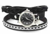 E-D4.5 WA1202 PU Wrap Watch with Crystals Black