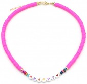 C-B3.1 N2030-001B3 Beaded Necklace HAPPY Pink