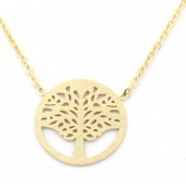 B-C9.1 N301-023G S. Steel Necklace with 18mm Tree Of Life Gold