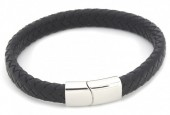 B105-002 Leather Bracelet with Stainless Steel Lock 21cm Black
