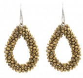 A-B7.1  E007-001 Facet Glass Beads 4.5x3.5cm Gold