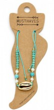 E-A10.1  ANK221-011 Anklet with Beads and Gold Metal Shell Blue