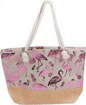 R-P8.2 BAG217-006 Beach Bag with Wicker and Metallic Flamingos and Pineapples 54x40cm Brown-Pink