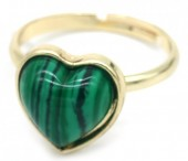E-E21.1 R1934-009 Adjustable Ring Malachite Gold
