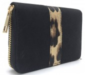 Q-G6.2 WA420-008 PU Wallet with Animal Print 15x10cm Black