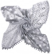 T-F3.2 S001-003 Scarf with Hearts-Stars-Animal Print and Tassels 140x140cm Grey