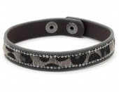 B-D20.1 B1202-214 Bracelet with Leopard Print and Crystals Grey