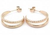 B-C6.1 E2030-010RG Stainless Steel Earrings Twisted 2cm Rose Gold