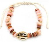 B302-004 Bracelet with Shell and Stones Beige