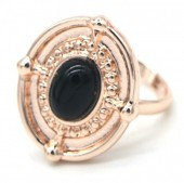 A-F5.3 R532-001R Adjustable Ring with Black Stone Rose Gold