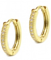 B-A4.5  E002-001G Earrings with Cubic Zirconia 13mm Gold