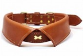 H-B16.1 MTDC-003 Leather Dog Collar Bow with Bone Brown XXS 39x2cm