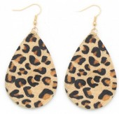 E-C7.2 E006-003 Leather Earrings with Animal Print 7x4 cm Brown