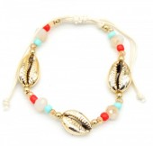 B-D16.1 B302-005 Bracelet with Gold Plated Shells and Beads