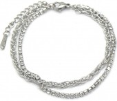 A-D10.2 B014-007S S. Steel Layered Bracelet with Crystals Silver