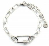 C-E9.3 B220-016 S. Steel Bracelet with Crystals Silver