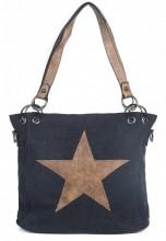 Q-H4.2 BAG017-010 Black Canvas Bag With PU Star 35x26x12cm