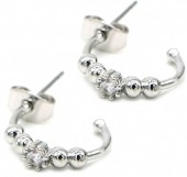 A-B2.3 E1929-005S Earrings with Cubic Zirconia Silver