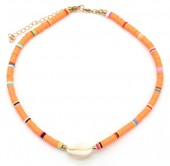 D-E3.2 N1925-009 Choker Surf Beads with Shell 37-43cm Orange