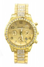 C-E7.2 W003-010 Metal Quartz Watch with Crystals and Date 38mm Gold