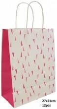 Q-K6.1  PK525-007B Paper Giftbag 27x21cm Pink 12pcs