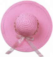R-C2.1 HAT504-007B Hat with Ribbon and Chain Pink
