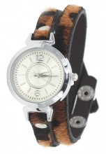 E-C18.4 W1202-003 PU Wrap Watch with Panter Print Brown