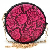 T-B3.1 BAG322-001 Combination Bum-Shoulder Bag Snake incl Belt 14x14x6cm Pink