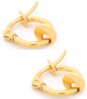 B-E18.2  E015-012S Stainless Steel Earrings with Coin 14mm Gold