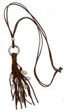 D-E18.6 Long Brown Necklace with Shells 75cm
