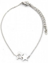 C-F7.2 B016-007 Stainless Steel Bracelet Stars Silver