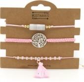 H-A9.6 B019-001 Bracelet Set 3pcs Dreamcatcher and Tassel Pink