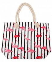 BAG217-002 Striped Beach Bag with Flamingos 43x34cm White