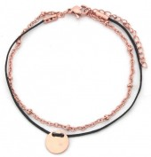 B-F2.3 B003-011 Stainless Steel with Cord Bracelet and 10mm Coin Black-Rose Gold