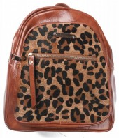 Y-A3.2 BAG534-001C Shiny PU Backpack with Animal Print 30x27x12cm Brown