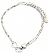 A-D4.3 SB104-028 Bracelet 925 Sterling Silver with Infinty and Heart