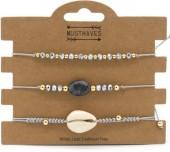 B019-002 Bracelet set 3pcs with Stone and Shell Grey