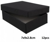 Z-E3.2 Giftbox for Necklace-Ring-Earrings 7x9x2.8cm Black 12pcs