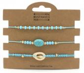 B019-002 Bracelet set 3pcs with Stone and Shell Blue