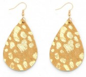 A-F8.1  E006-003 Leather Earrings with Animal Print Brown-Gold