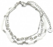 F-C17.1 B1561-101 S. Steel Bracelet with Glass Beads and Coins Silver